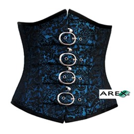 Black & Blue Brocade with Buckles