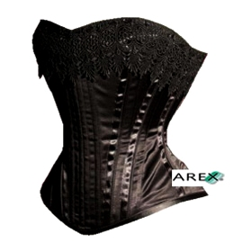 Overbust Satin Corset W/Lace on Top