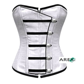 Silver Corset with Button Down Placket
