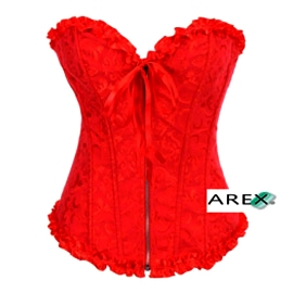 Red Brocade Corset with Plating on top and bottom