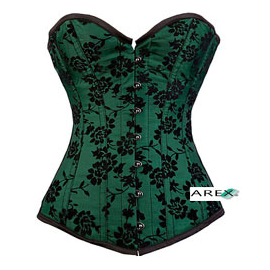 Satin Corset W/Black Lace Overly