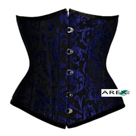 Black on Blue Brocade Underbust Corset