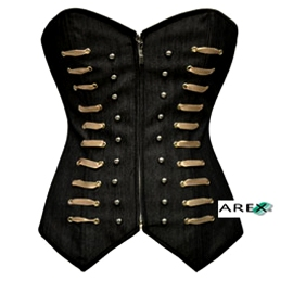 Black Denim Corset with Cream Ribbon