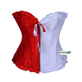 Red & White Brocade Corset